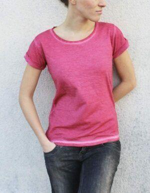 Maglietta denim rosa lampone femminile