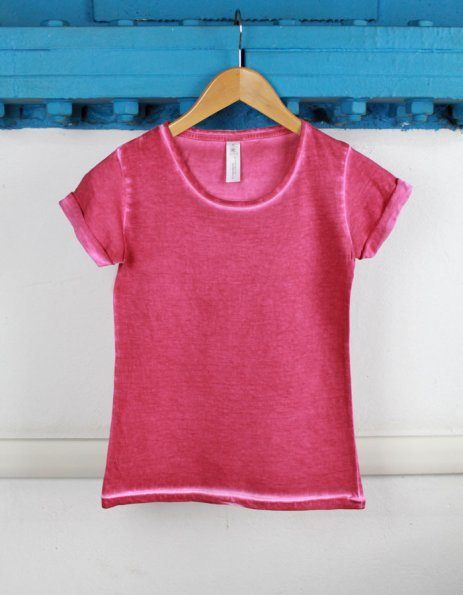 T-shirt denim rosa lampone