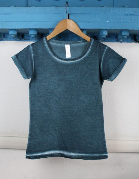 T-shirt denim verde petrolio