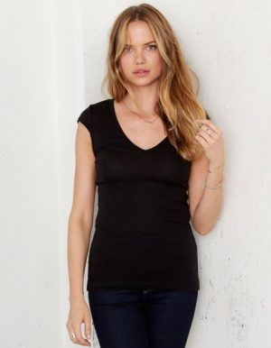 T-shirt Personalizzata Scollo V Nera