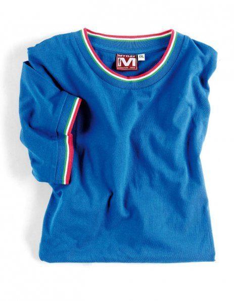 maglietta personalizzata blu royal con bordino tricolore myday