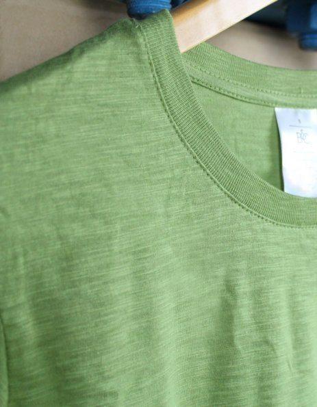 Maglietta in cotone fiammato verde militare