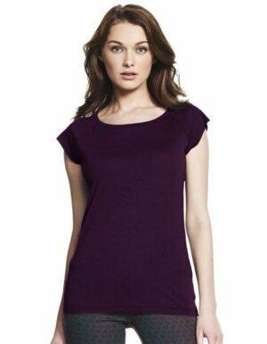 T-shirt Donna in Bamboo prugna da personalizzare