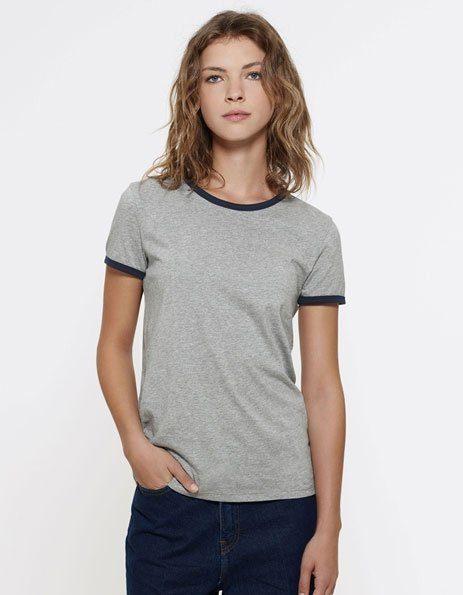 personalizza maglietta ringer donna con bordini a contrasto