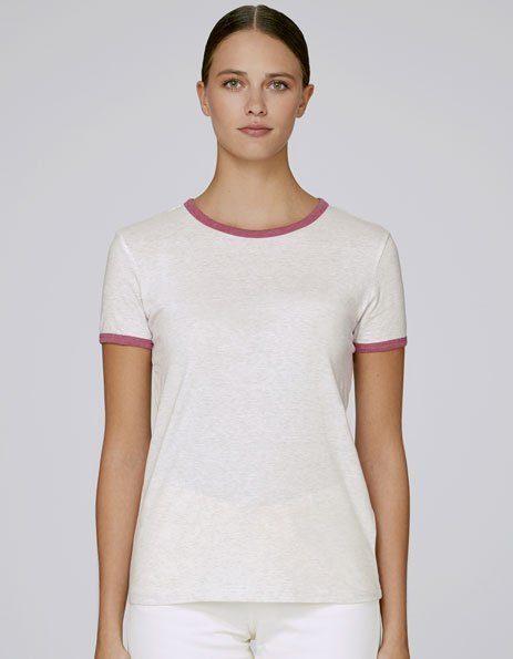 personalizza maglietta ringer donna con bordini a contrasto rosa
