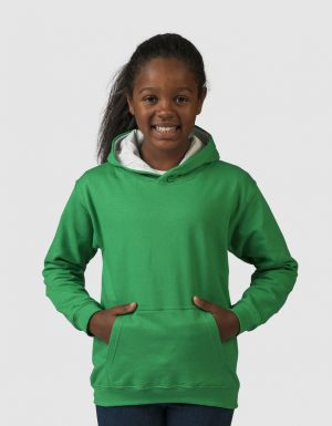 Felpa Bambino cappuccio bicolore verde