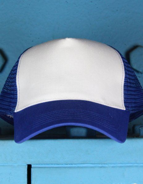 Cappellino Blu Royal con visiera stampabile bianca