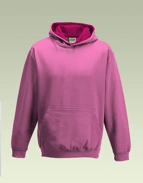 Felpa bambino cappuccio bicolore rosa