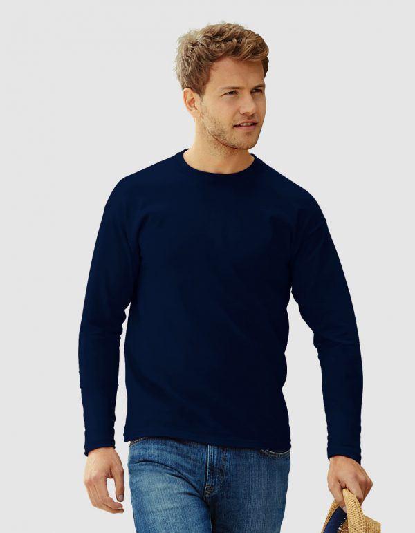 maglietta uomo con maniche lunghe blu navy