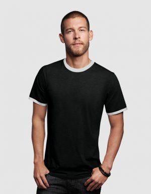 T-shirt uomo ringer maniche corte fruit of the loom
