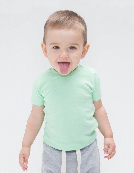 Maglietta baby verde menta con bottoncini laterali