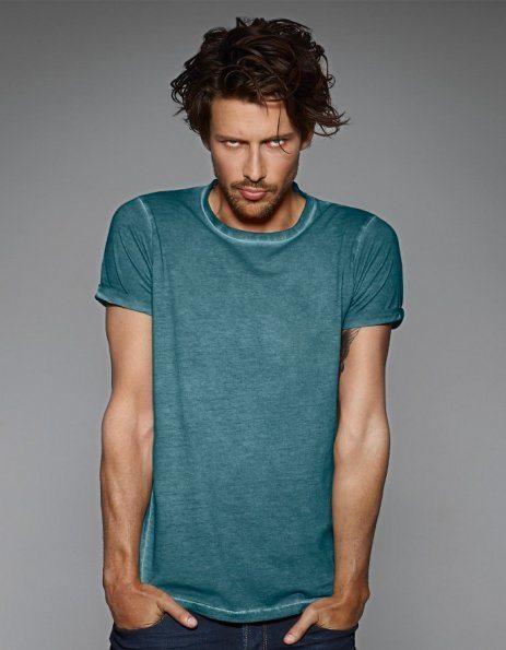 Maglietta denim colore verde petrolio