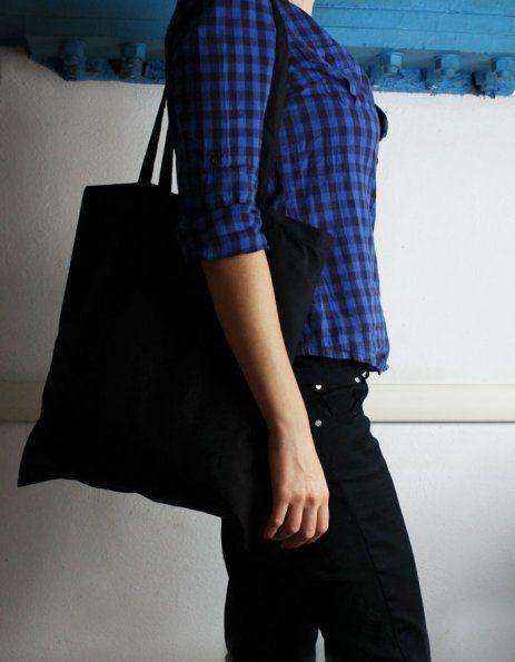 Personalizza classica borsina di cotone colore nero