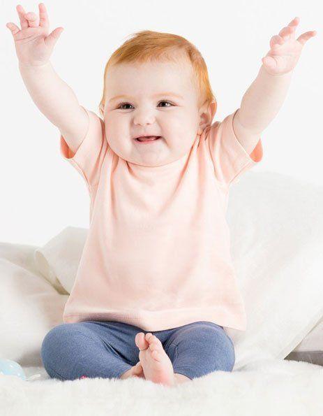 Personalizza maglietta baby rosa pastello con bottoncini laterali