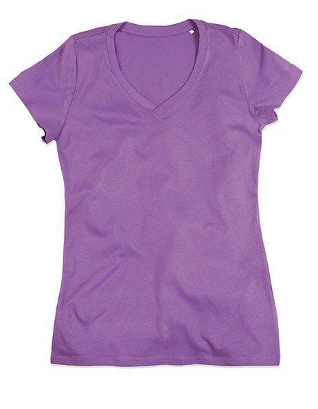 Personalizza maglietta bio donna lavanda scollo V
