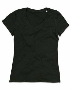 Personalizza maglietta bio donna nera scollo V
