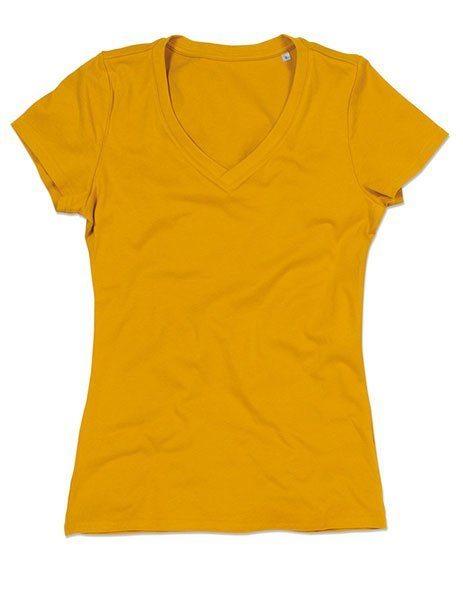 Personalizza maglietta bio donna senape scollo V