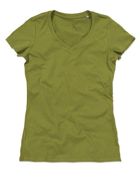 Personalizza maglietta bio donna verde scollo V