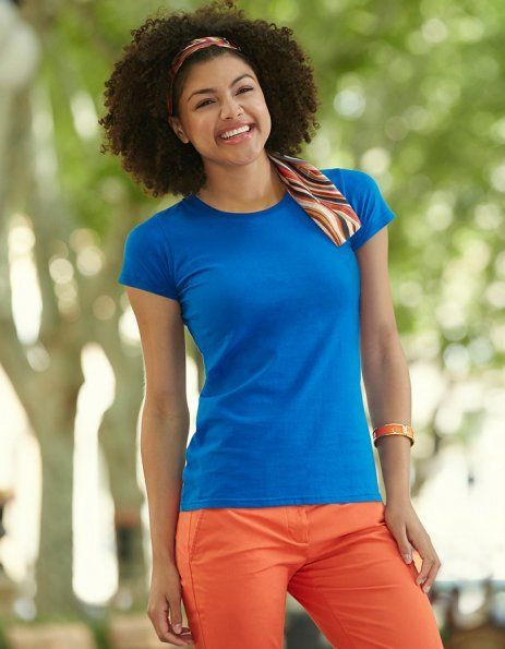 Personalizza t-shirt donna blu royal Fruit of the Loom