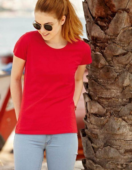 Personalizza t-shirt donna Fruit of the Loom rossa