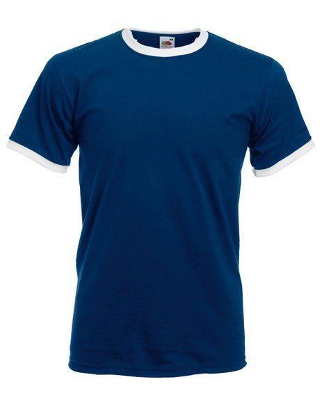 Personalizza T-shirt Ringer Fruit of the Loom blu con bordino bianco