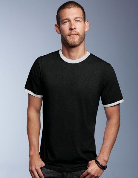 Personalizza T-shirt Ringer Fruit of the Loom nera con bordino bianca