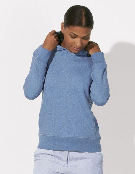 Personalizza Felpa blu chiaro melange con cappuccio da donna