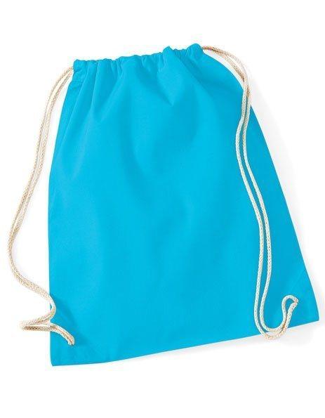 Sacca gym cotone personalizzata zaino azzurra