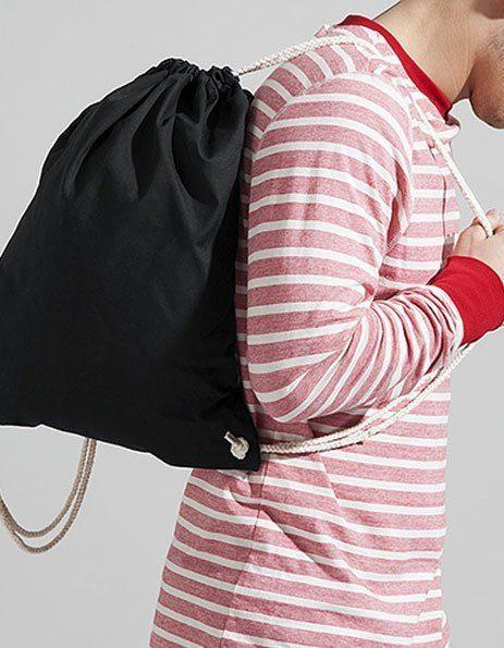 Personalizza sacca Gym in cotone nera