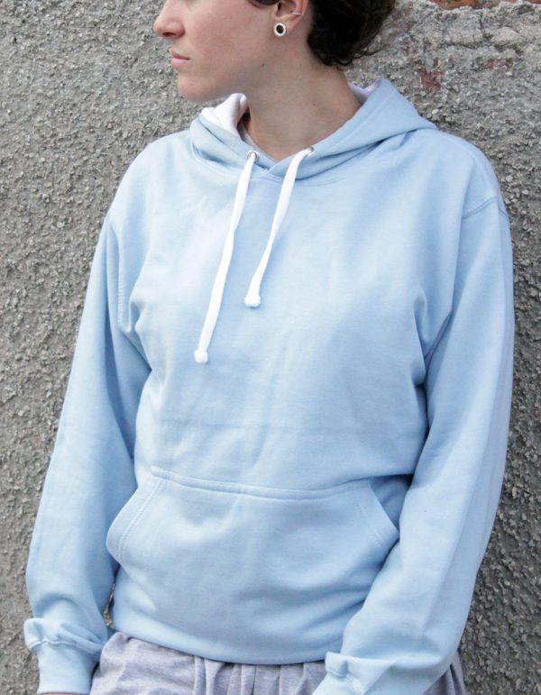 felpa azzurra da donna personalizzata