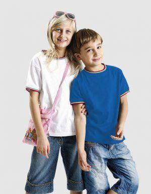 maglietta bambino con bordini tricolore