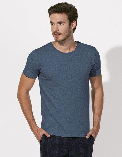 Stampa maglietta personalizzata cotone bio blu scuro melange