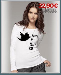 Personalizza maglia manica lunga donna con scritta twitter