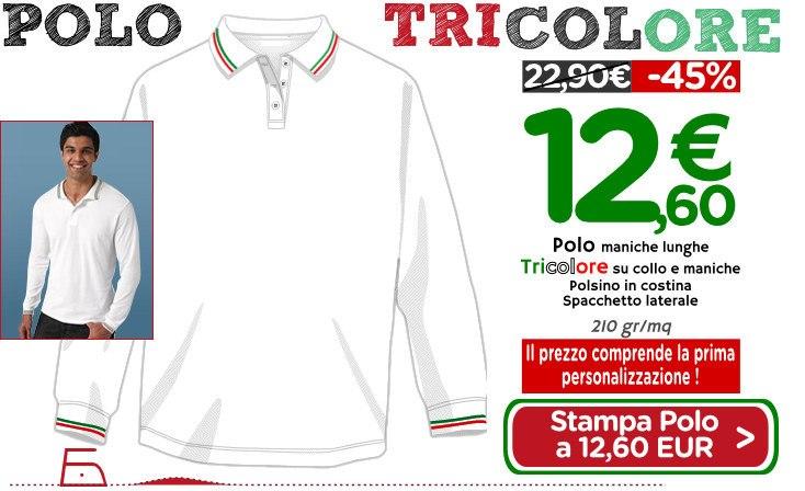 Polo unisex maniche lunghe con bordo tricolore a 12,60 EUR compresa personalizzazione