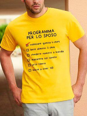 maglietta programma per lo sposo