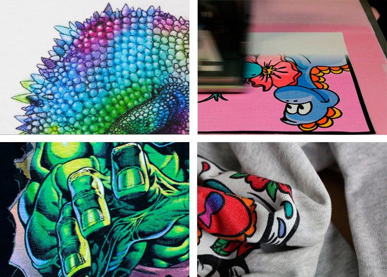 stampe digitali colorate su magliette