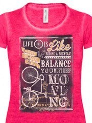 Personalizza T-shirt Donna Denim B&C con grafica Life is like riding