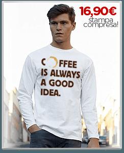 Stampa maglietta unisex con scritta e grafica sul caffe'